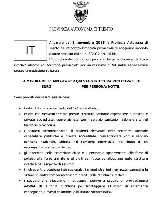 IMPOSTA PROVINCIALE DI SOGGIORNO - Hotel Villa Franca 2019 | Torbole ...